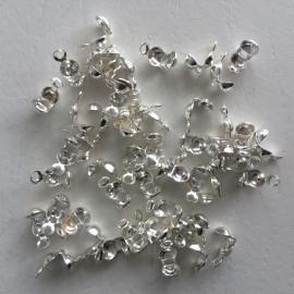 50 stuks kalotjes 8x4mm zilverkleur