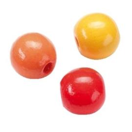 6014110-155 stuks houten kralenmix geel/rood/oranje 4mm