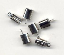 430605/1701- 6 stuks veterklemmen 7x6mm zilverkleur