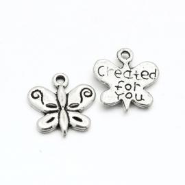 D05- 8 stuks bedels vlinders met tekst created for you 13x13mm zilver