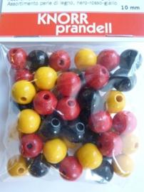 6020 200- 50 stuks houten kralenmix rood/geel/zwart 10mm
