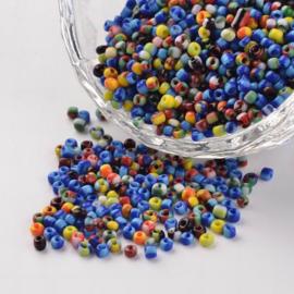 C444- 50gram glazen rocailles 1.5-2mm kleurenmix gestreept