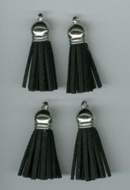 432102/1201- 4 kwastjes-tassel met cap suede van 3cm zwart