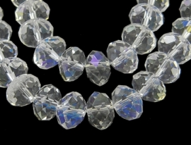 C79- 20 stuks electroplated geslepen glaskralen van 8x6mm crystal AB