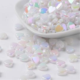 C19- ruim 55 stuks acryl hartjes imitation Jade melkwit met AB plating 8x3mm