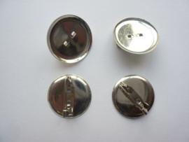 40 stuks broche speldjes met ronde cup van 30mm zilverkleur
