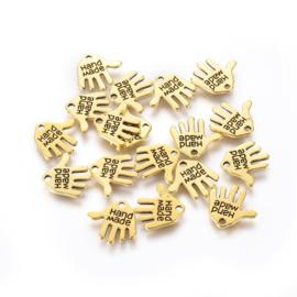 D82.1- 100 stuks hangers/bedels handje met tekst `handmade` 13mm goudkleur
