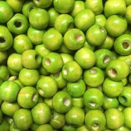 ca. 85 stuks houten kralen 10mm appelgroen