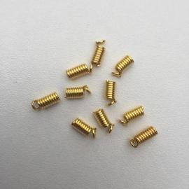 10 stuks koordkapjes 9x3.5mm goudkleur