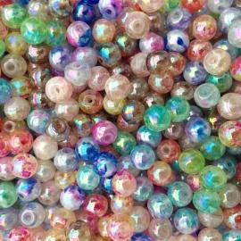 C154- 30 stuks spraypainted glaskralen 8mm AB kleurenmix