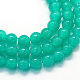 C451- 145 stuks glaskralen imitation Jade gemstone 6.5mm dark cyan