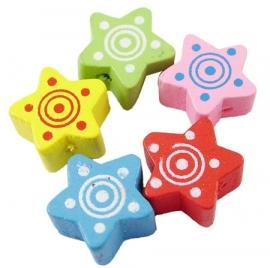 15 stuks houten kralen sterren 14x7.5mm kleurenmix