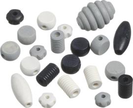 6023465- 20 stuks houten kralen mix zwart/wit/grijs 10 tot 30mm