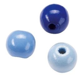 6012407-155 stuks houten kralenmix blauw tinten 4mm