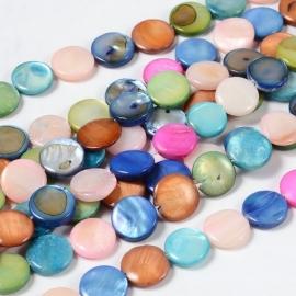 C155- 24 stuks schelpen parelmoer kralen kleurenmix 12x3mm