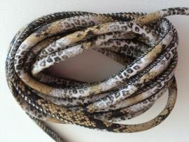 PU.01- 3 meter PU-leren koord slangen- & tijgerprint naturel 4mm