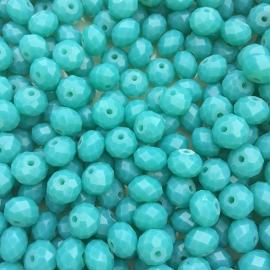 C139- 25 stuks electroplated facet geslepen glaskralen 8x6mm turquoise