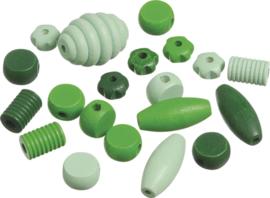 216023442- 20 stuks houten kralen mix groen tinten 10 tot 30mm