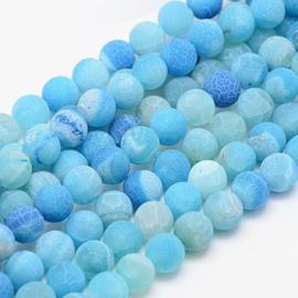 C241- 30 stuks frozen natural effloresce agate edelsteen kralen 8mm blauw