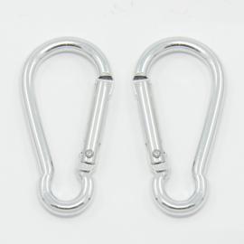 5 stuks grote aluminium karabijner haken 50x24mm zilverkleur