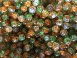 C218- 25 stuks crackle glaskralen van 10mm duocolor groen/oranje
