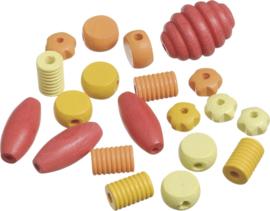 216023411- 20 stuks houten kralen mix rood/geel/oranje 10 tot 30mm