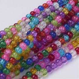 C430- 100 stuks qraccle glaskralen 4mm kleurenmix