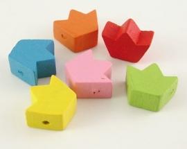 12 stuks houten kralen kroontjes van 14x17mm kleurenmix