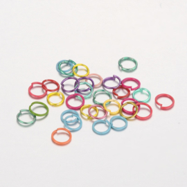 ca. 100 stuks enkele ringetjes kleurenmix 6mm