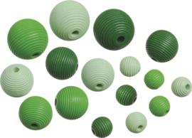216023142- 20 stuks houten kralen mix geribbeld groen tinten 10 tot 20mm