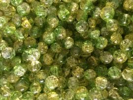 C219- 25 stuks crackle glaskralen van 10mm duocolor groen/geel