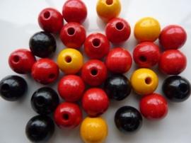 6021200- 28 stuks houten kralenmix rood/geel/zwart 12mm