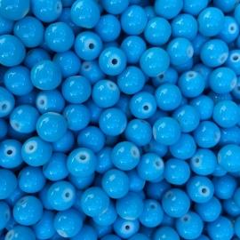 C104- 50 stuks glaskralen baking painted 8mm opak blauw