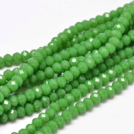 C298.C- ca. 150 stuks facet glaskralen abacus 4x3mm green