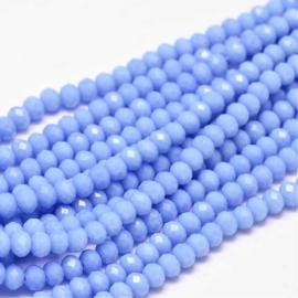 C341.C- ca. 150 stuks abacus facet geslepen glaskralen 4x3mm hortensia blauw