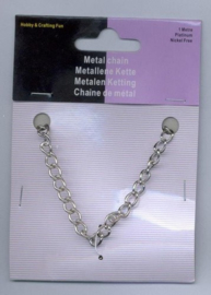 CE450602/1001- 1 meter ketting jasseron 5.5mm zilverkleur
