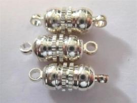 450901/0961- 3 stuks magneetsluitingen bolvorm 10mm zilverkleur