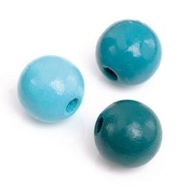 216012406-155 stuks houten kralenmix turquoise tinten 4mm