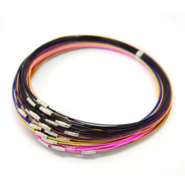 10 x draad colliers / staaldraad kettingen 45cm met sluiting kleurmix