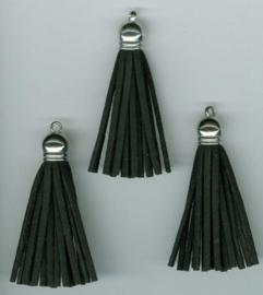 432102/1221- 3 kwastjes-tassel met cap suede van 5cm zwart