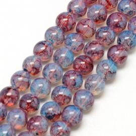 C207- ruim 90 stuks painted glaskralen imitatie opalite 6mm bleu/rose/red