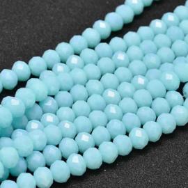 C122.C- ca. 135 stuks abacus facet geslepen glaskralen 4x3mm pale turquoise
