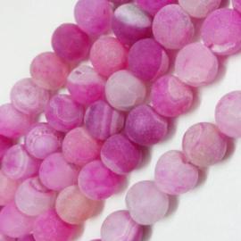 C260- 30 stuks frozen natural effloresce agate edelsteen kralen 8mm roze