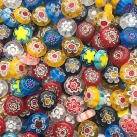 C256- 20 stuks millefiori glaskralen plat rond van 10x4mm kleurenmix