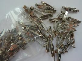 100 stuks brochespeldjes 20mm zilver