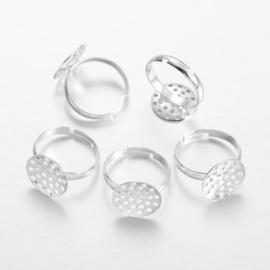 2 stuks verstelbare ringen met zeefje zilverkleur