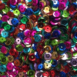 25 gram pailletten facon 6mm kleurenmix - circa 2500 stuks