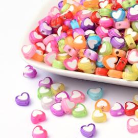 C264- 50 stuks acryl hartjes bead-in-bead 7x8x4mm kleurenmix