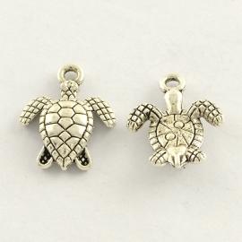 D06- 8 stuks bedels schildpad 16x12.5mm zilver