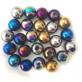 C93- 25 stuks electroplated mardi gras glaskralen 10mm kleurenmix